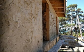 Rendered straw bale wall
